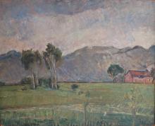 Tre alberi con casolare, anni '30, Arturo Tosi - Irma Bianchi Comunicazione