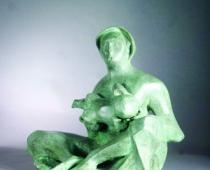 Anselmo, Maternità con cuffia,1954, scultura in bronzo, cm 52x58x42