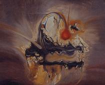 Joe C. Colombo, Composizione nucleare, 1952, inchiostro di china su cartoncino, cm 64x66