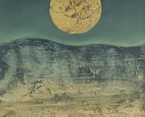 Max Ernst, Lune jaune, 1960, olio su tela, cm 23x18