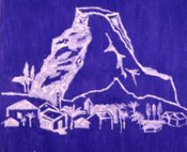 Aldo Mondino, Una montagna dolce, 1972, zucchero su tela colorata, cm 140x140