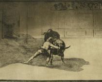Francisco Goya, Il famoso Marticho conficca le banderillas schivando il toro - dalla Tauromachia, acquaforte