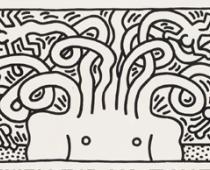 Keith Haring, Untitled (Medusa Head), 1986, acquaforte su carta, cm 137x247,5