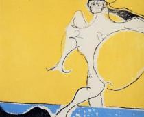 Osvaldo Licini, Angelo ribelle su fondo giallo, 1952, olio su tela, cm 92,5x114,5