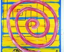 Menchu Lamas, Espiral do soño, 2001, tecnica mista su tela, cm 250x200