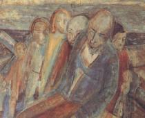 Henry Gowa, Les Naufragés, 1944, olio su legno