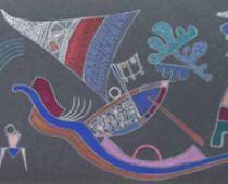 Vasilij Kandinskij, Senza titolo, 1941, tempera su fondo grigio, cm 21,2x54,5